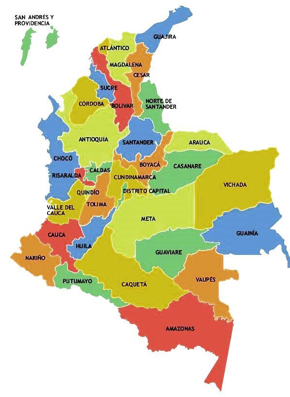 Cuántos departamentos tiene Colombia